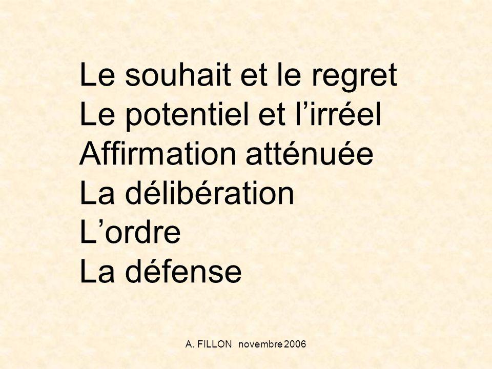 A. FILLON novembre 2006 Le souhait et le regret Le potentiel et lirréel Affirmation atténuée La délibération Lordre La défense