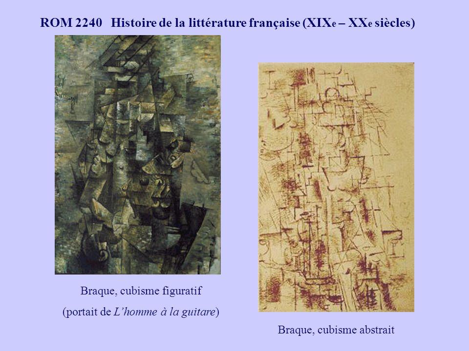 ROM 2240 Histoire de la littérature française (XIX e – XX e siècles) Braque, cubisme figuratif (portait de Lhomme à la guitare) Braque, cubisme abstrait