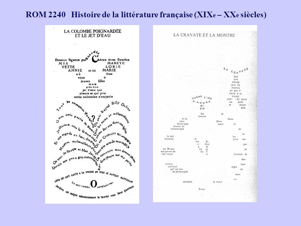 ROM 2240 Histoire de la littérature française (XIX e – XX e siècles)