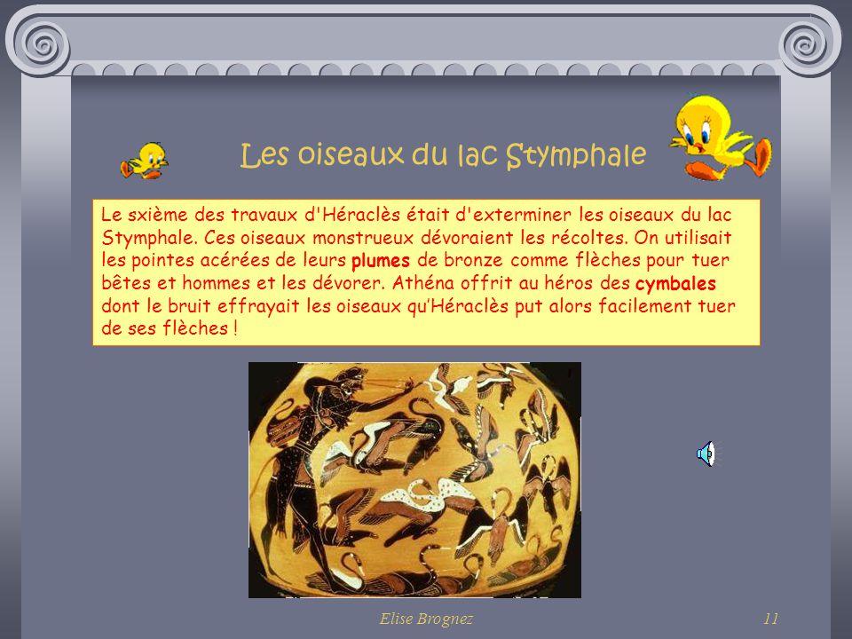 Elise Brognez10 Quelques autres travaux… Lhydre de Lerne !!!!! Avec laide de son ami Iolaos, Héraclès étrangle ensuite cet animal monstrueux qui avait