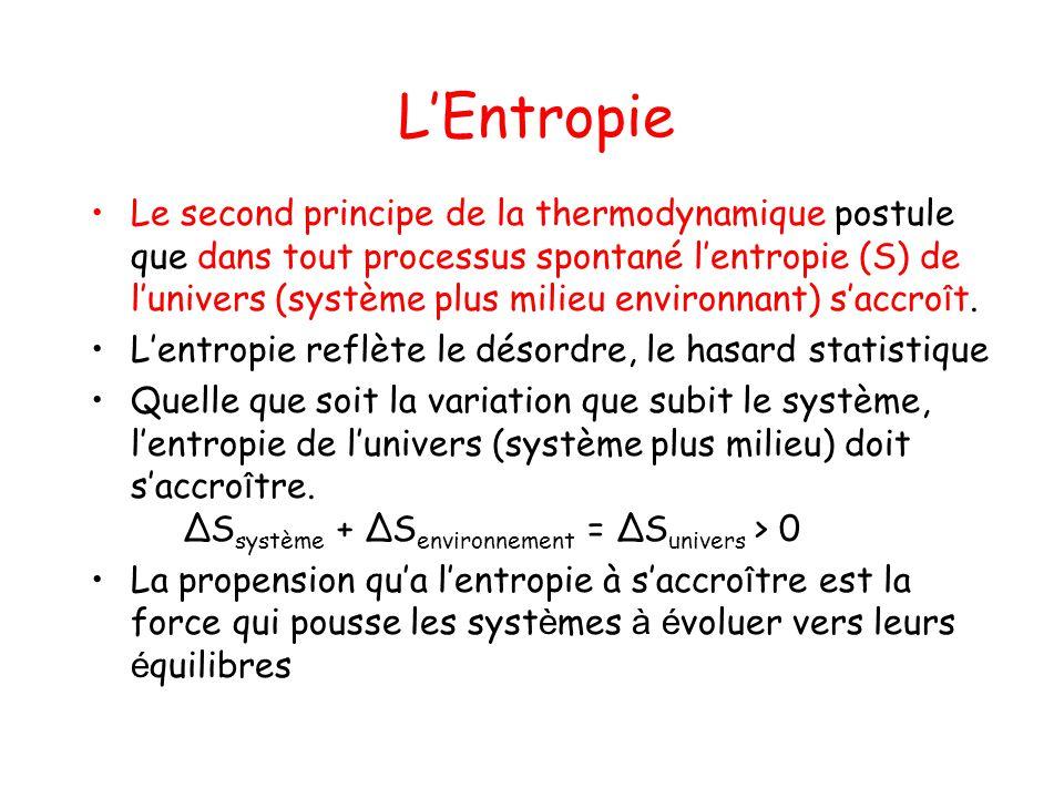 LEntropie Le second principe de la thermodynamique postule que dans tout processus spontané lentropie (S) de lunivers (système plus milieu environnant