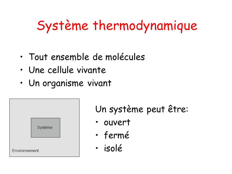 Système thermodynamique Tout ensemble de molécules Une cellule vivante Un organisme vivant Système Environnement Un système peut être: ouvert fermé is