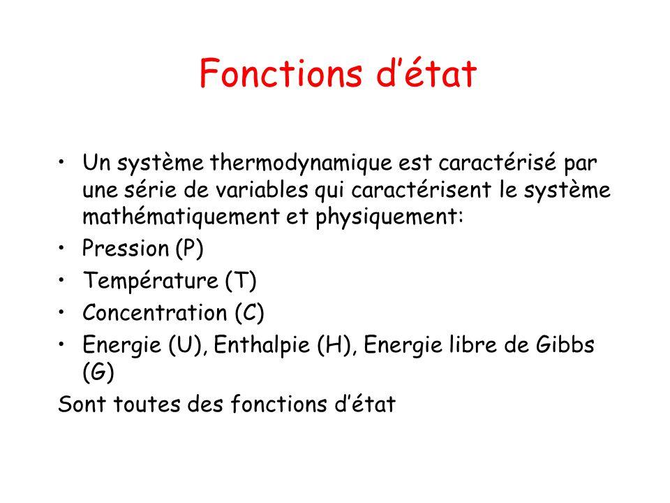 Fonctions détat Un système thermodynamique est caractérisé par une série de variables qui caractérisent le système mathématiquement et physiquement: P