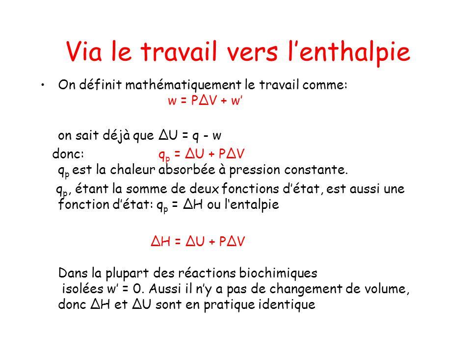 Via le travail vers lenthalpie On définit mathématiquement le travail comme: w = PV + w on sait déjà que U = q - w donc: q p = U + PV q p est la chale