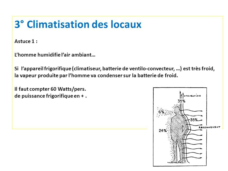 19 3° Climatisation des locaux Astuce 1 : Lhomme humidifie lair ambiant… Si lappareil frigorifique (climatiseur, batterie de ventilo-convecteur, …) est très froid, la vapeur produite par lhomme va condenser sur la batterie de froid.