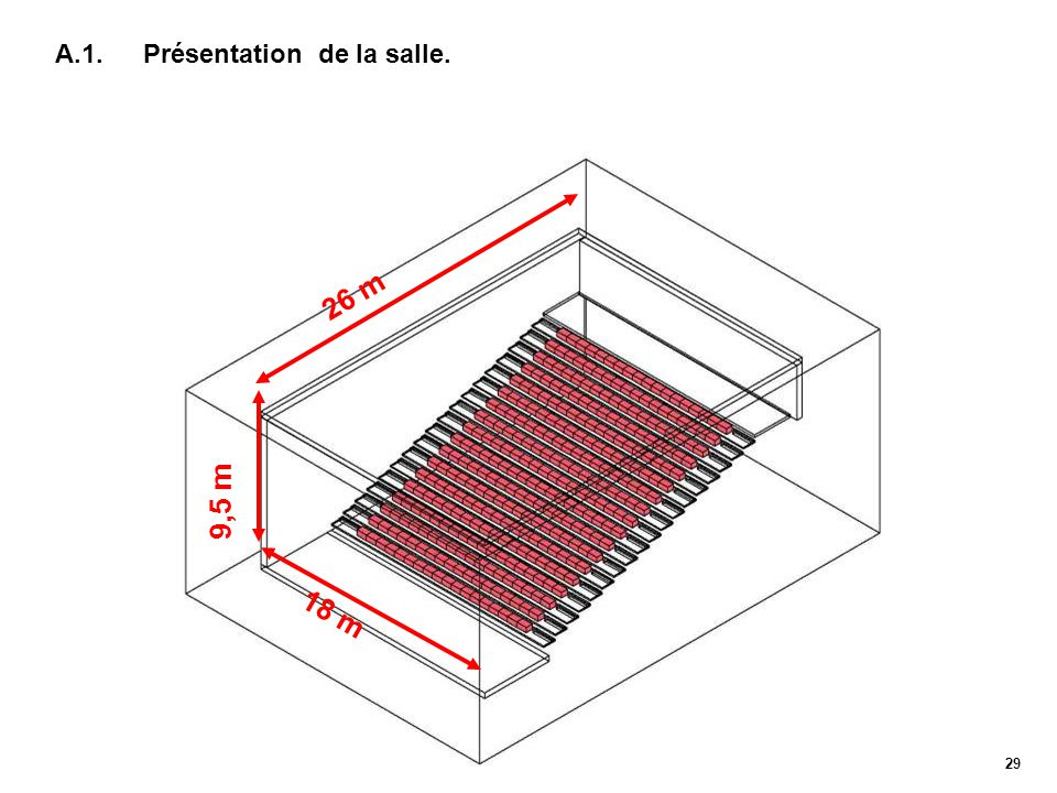 29 A.1. Présentation de la salle. 26 m 9,5 m 18 m