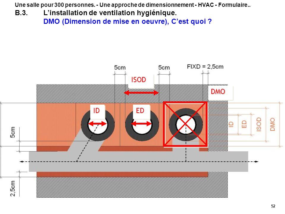 52 Une salle pour 300 personnes. - Une approche de dimensionnement - HVAC - Formulaire.. B.3.Linstallation de ventilation hygiénique. DMO (Dimension d