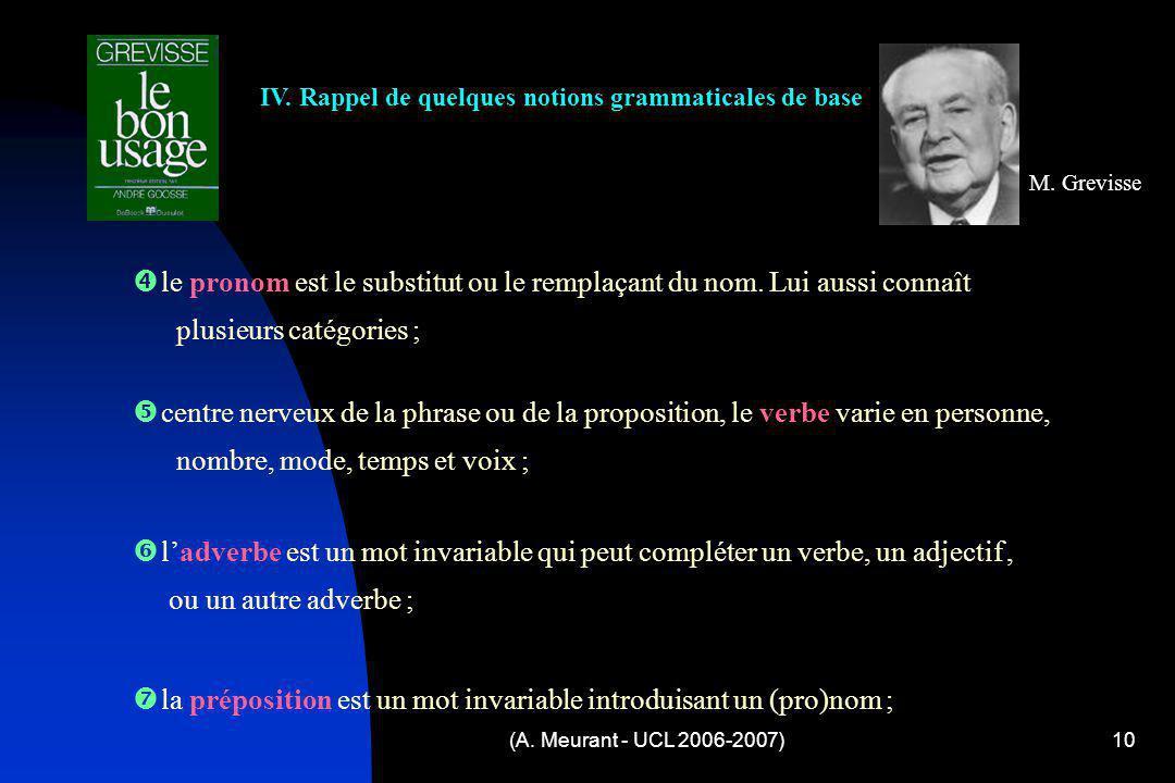 (A. Meurant - UCL 2006-2007)10 IV. Rappel de quelques notions grammaticales de base M. Grevisse c entre nerveux de la phrase ou de la proposition, le