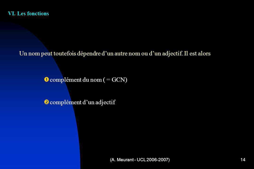 (A. Meurant - UCL 2006-2007)14 VI. Les fonctions c omplément du nom ( = GCN) c omplément dun adjectif Un nom peut toutefois dépendre dun autre nom ou