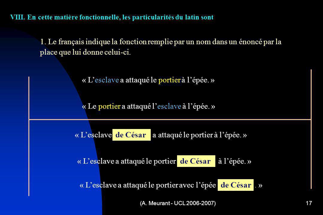 (A. Meurant - UCL 2006-2007)17 VIII. En cette matière fonctionnelle, les particularités du latin sont 1. Le français indique la fonction remplie par u