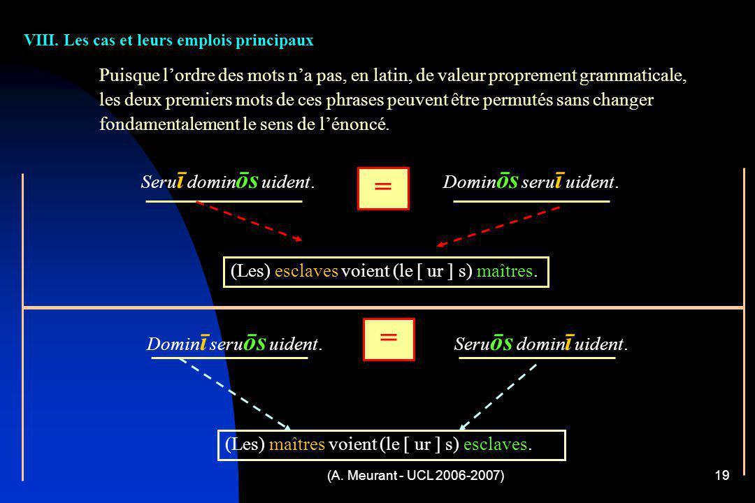 (A. Meurant - UCL 2006-2007)19 VIII. Les cas et leurs emplois principaux Puisque lordre des mots na pas, en latin, de valeur proprement grammaticale,