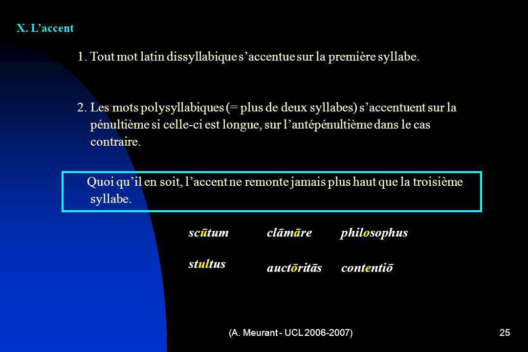 (A. Meurant - UCL 2006-2007)25 X. Laccent 1. Tout mot latin dissyllabique saccentue sur la première syllabe. 2. Les mots polysyllabiques (= plus de de