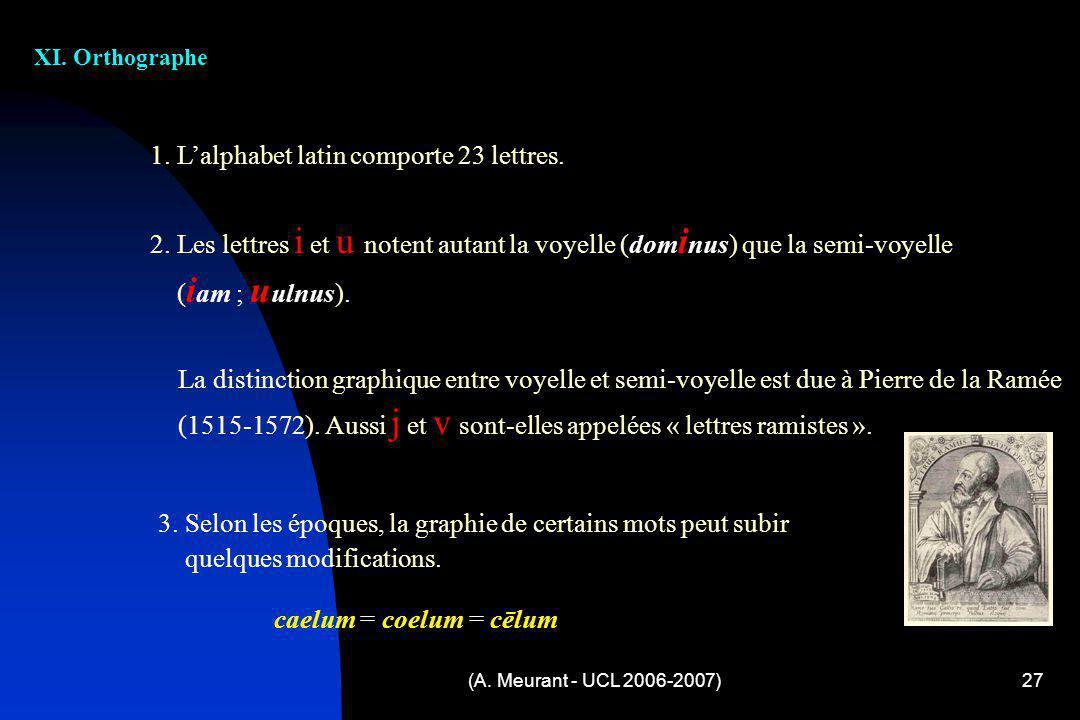 (A. Meurant - UCL 2006-2007)27 XI. Orthographe 1. Lalphabet latin comporte 23 lettres. 2. Les lettres i et u notent autant la voyelle (dom i nus) que