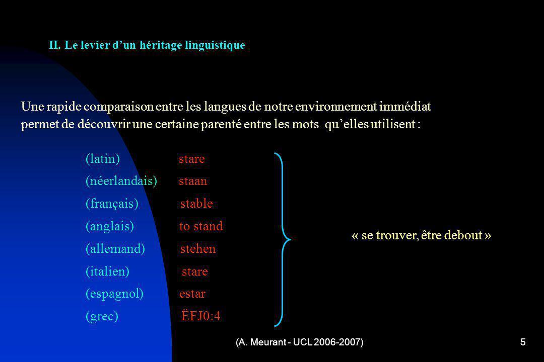 (A. Meurant - UCL 2006-2007)5 Une rapide comparaison entre les langues de notre environnement immédiat permet de découvrir une certaine parenté entre