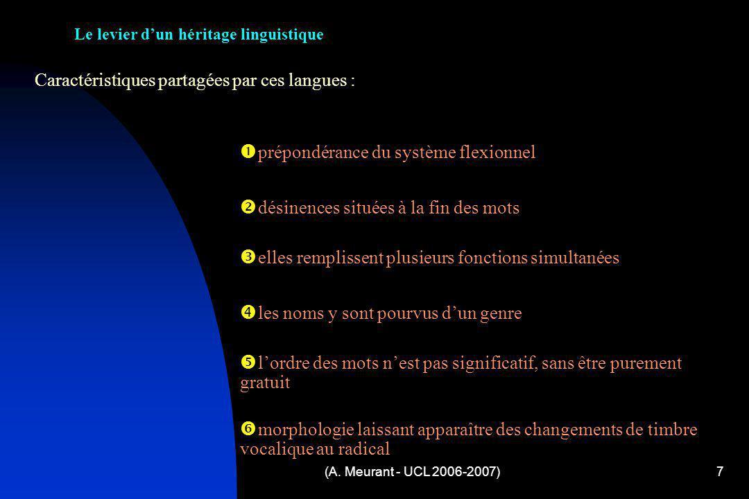 (A. Meurant - UCL 2006-2007)7 Caractéristiques partagées par ces langues : Le levier dun héritage linguistique p répondérance du système flexionnel d