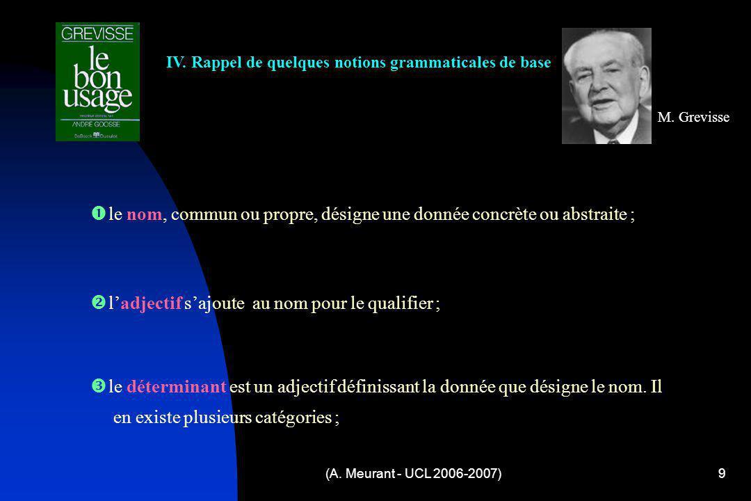 (A. Meurant - UCL 2006-2007)9 IV. Rappel de quelques notions grammaticales de base M. Grevisse l e nom, commun ou propre, désigne une donnée concrète