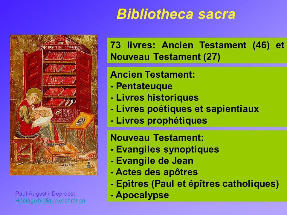 Bibliotheca sacra 73 livres: Ancien Testament (46) et Nouveau Testament (27) Ancien Testament: - Pentateuque - Livres historiques - Livres poétiques e