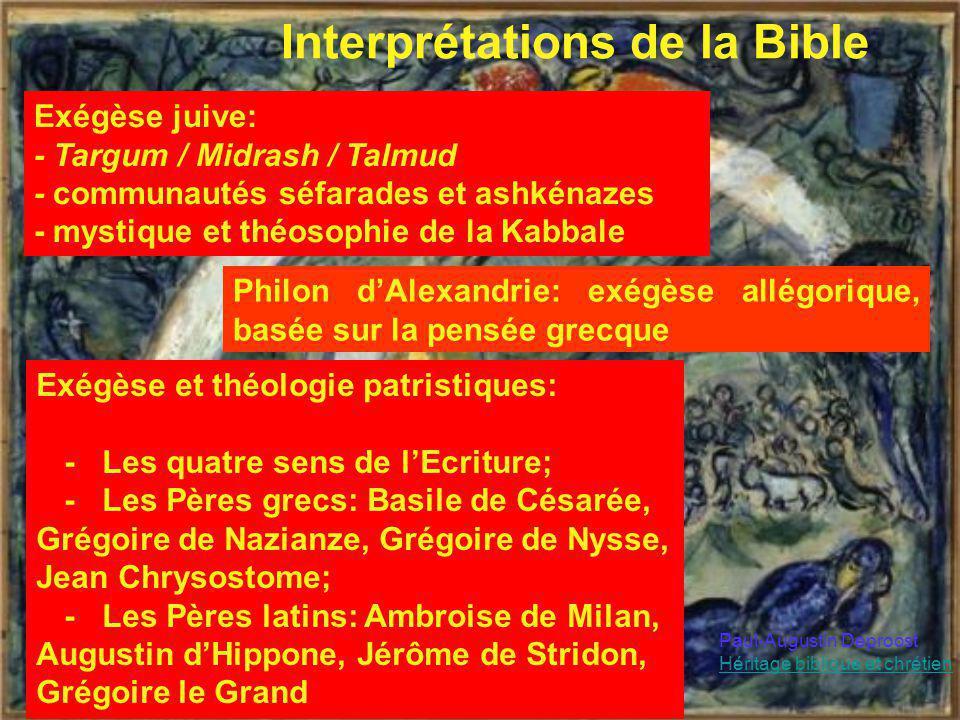 Interprétations de la Bible Exégèse juive: - Targum / Midrash / Talmud - communautés séfarades et ashkénazes - mystique et théosophie de la Kabbale Ph