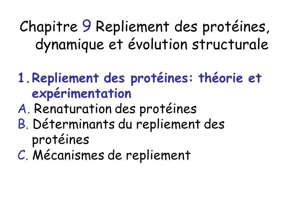 Chapitre 9 Repliement des protéines, dynamique et évolution structurale 1.Repliement des protéines: théorie et expérimentation A. Renaturation des pro