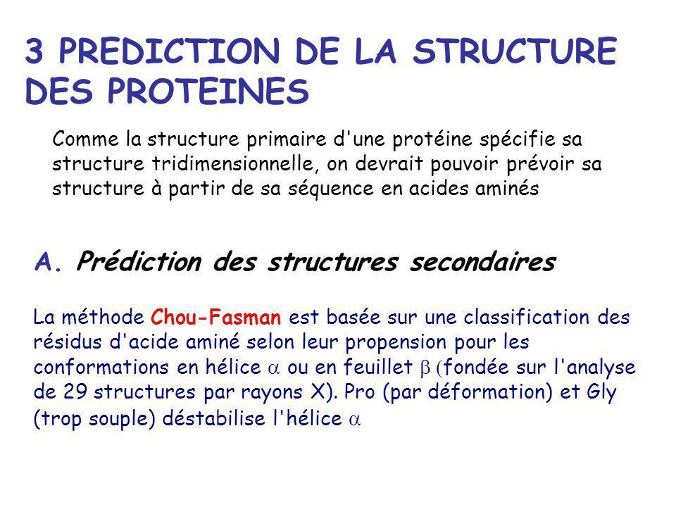 3 PREDICTION DE LA STRUCTURE DES PROTEINES Comme la structure primaire d'une protéine spécifie sa structure tridimensionnelle, on devrait pouvoir prév