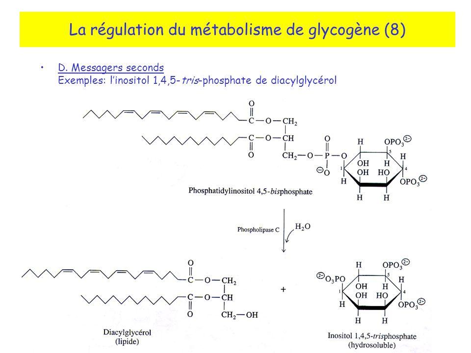 La régulation du métabolisme de glycogène (8) D. Messagers seconds Exemples: linositol 1,4,5-tris-phosphate de diacylglycérol