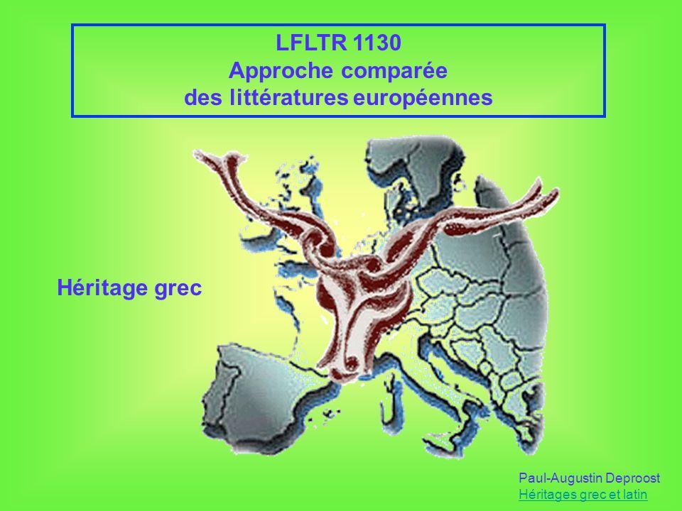 Les héritages grec et latin Paul-Augustin Deproost Héritages grec et latin 1.Les héritages grec et latin relèvent des « fondations » du patrimoine littéraire européen, par rapport à dautres héritages qui en seraient plutôt les « remblais » 2.