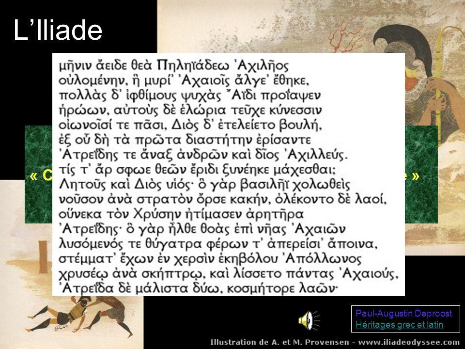LOdyssée Paul-Augustin Deproost Héritages grec et latin LOdyssée raconte le long retour dUlysse dans sa patrie après la guerre de Troie Poursuivi par la vengeance de Poséidon, il erre sur les mers et affronte un univers monstrueux À la fin du poème, il retrouve son épouse Pénélope et triomphe des prétendants Son errance sur la Méditerranée le conduit dans lîle de Calypso et dans le royaume des Phéaciens où il raconte toutes les péripéties de son voyage depuis la fin de la guerre de Troie
