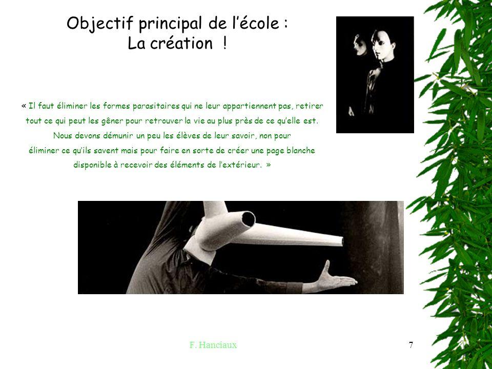 F.Hanciaux7 Acte trois : la pédagogie et le LEM. Objectif principal de lécole : La création .