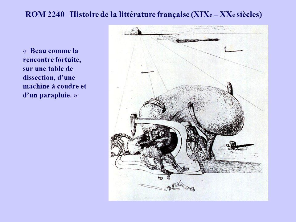 ROM 2240 Histoire de la littérature française (XIX e – XX e siècles) « Beau comme la rencontre fortuite, sur une table de dissection, dune machine à c