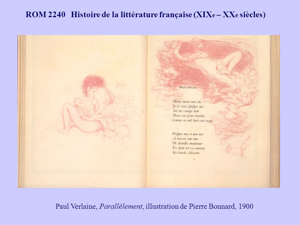 ROM 2240 Histoire de la littérature française (XIX e – XX e siècles) « Beau comme la rencontre fortuite, sur une table de dissection, dune machine à coudre et dun parapluie.