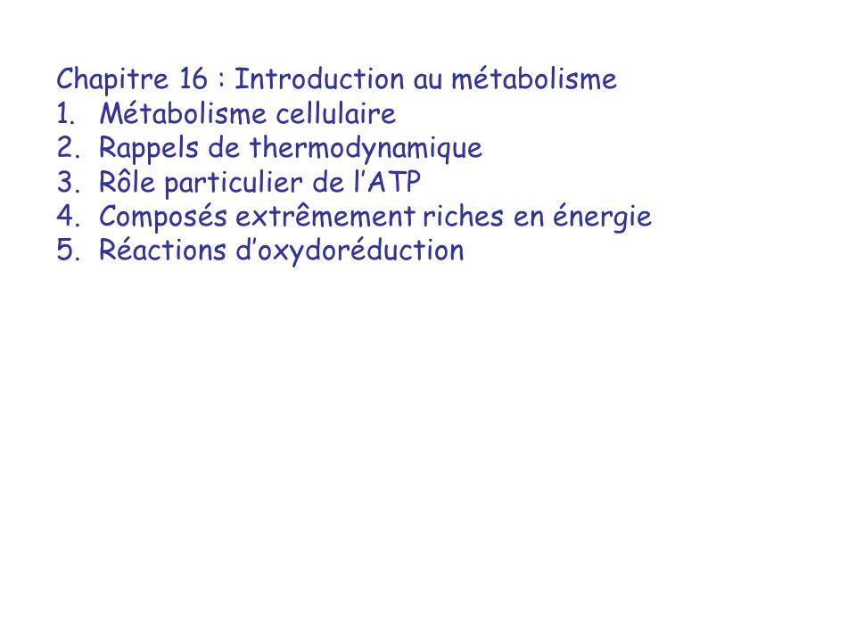 Chapitre 16 : Introduction au métabolisme 1.Métabolisme cellulaire 2.Rappels de thermodynamique 3.Rôle particulier de lATP 4.Composés extrêmement riches en énergie 5.Réactions doxydoréduction