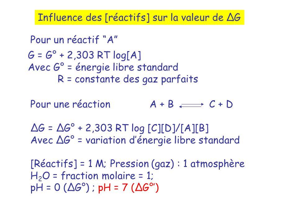 Influence des [réactifs] sur la valeur de G G = G° + 2,303 RT log[A] Avec G° = énergie libre standard R = constante des gaz parfaits Pour un réactif A Pour une réaction A + BC + D G = G° + 2,303 RT log [C][D]/[A][B] Avec G° = variation dénergie libre standard [Réactifs] = 1 M; Pression (gaz) : 1 atmosphère H 2 O = fraction molaire = 1; pH = 0 (G°) ; pH = 7 (G°)