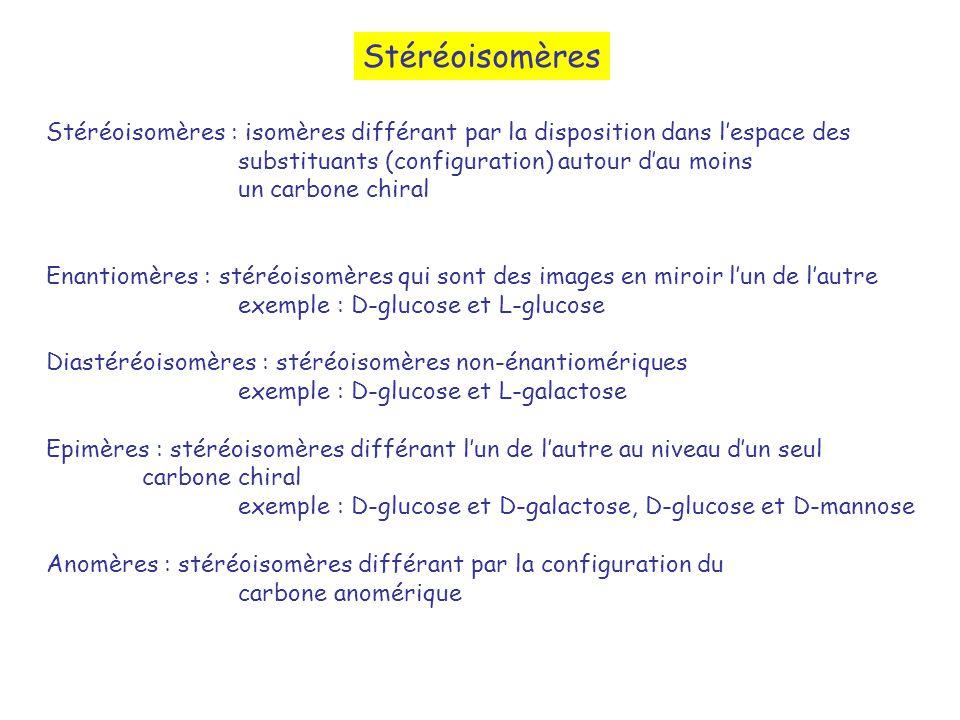 Stéréoisomères Stéréoisomères : isomères différant par la disposition dans lespace des substituants (configuration) autour dau moins un carbone chiral