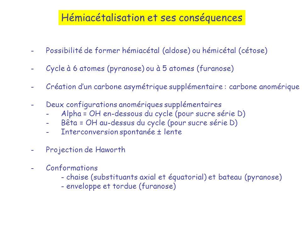 Hémiacétalisation et ses conséquences -Possibilité de former hémiacétal (aldose) ou hémicétal (cétose) -Cycle à 6 atomes (pyranose) ou à 5 atomes (fur