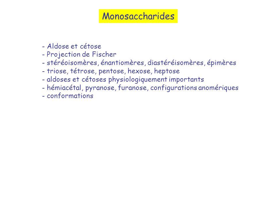 Monosaccharides - Aldose et cétose - Projection de Fischer - stéréoisomères, énantiomères, diastéréisomères, épimères - triose, tétrose, pentose, hexo
