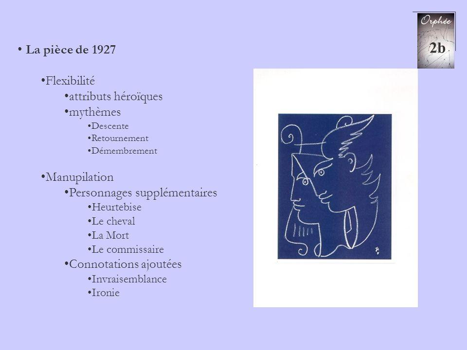 2b La pièce de 1927 Flexibilité attributs héroïques mythèmes Descente Retournement Démembrement Manupilation Personnages supplémentaires Heurtebise Le