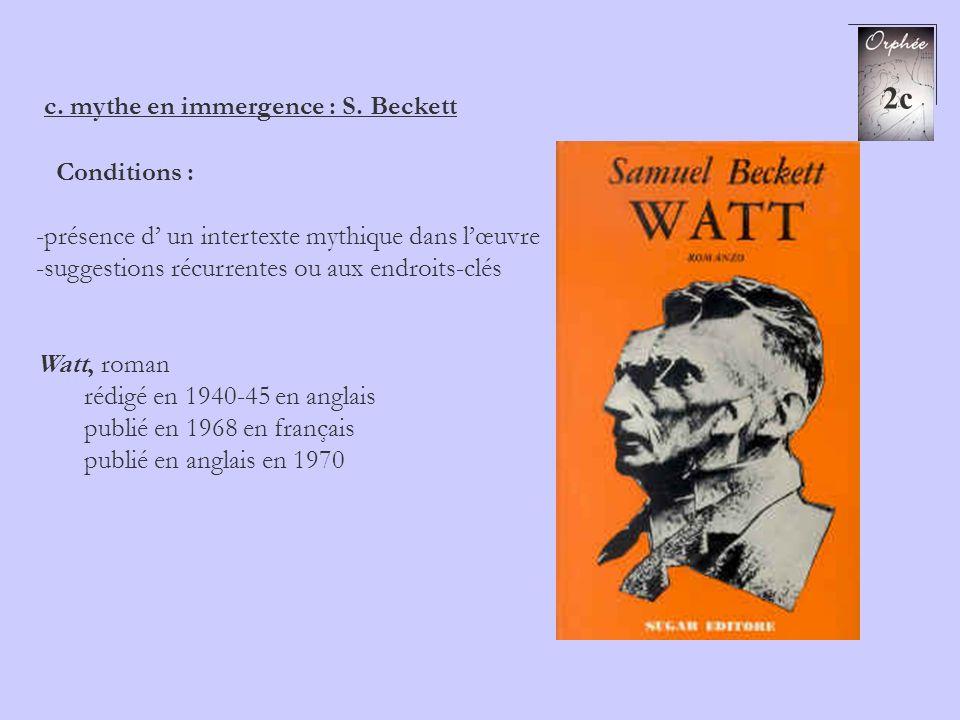 2c c. mythe en immergence : S. Beckett Conditions : -présence d un intertexte mythique dans lœuvre -suggestions récurrentes ou aux endroits-clés Watt,