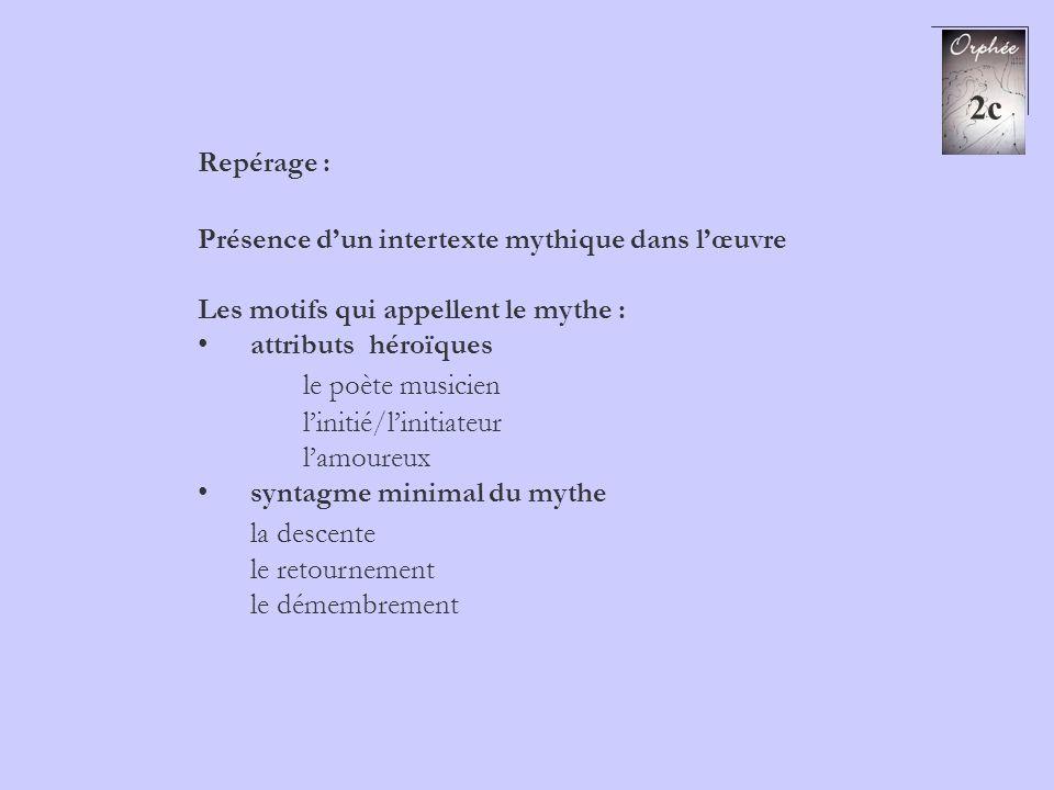 2c Repérage : Présence dun intertexte mythique dans lœuvre Les motifs qui appellent le mythe : attributs héroïques le poète musicien linitié/linitiate