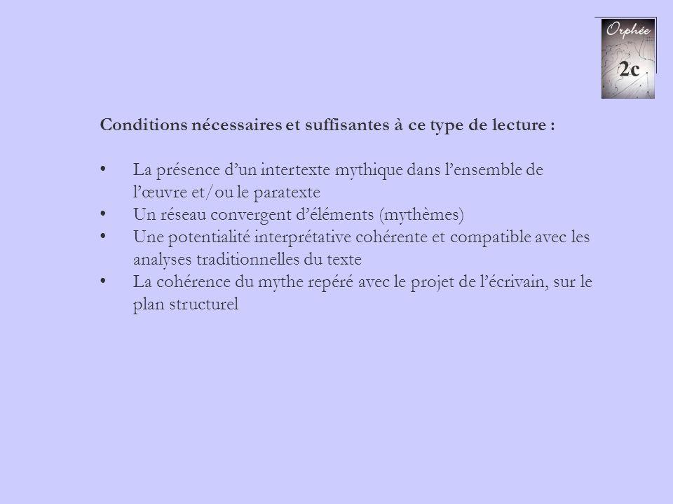 2c Conditions nécessaires et suffisantes à ce type de lecture : La présence dun intertexte mythique dans lensemble de lœuvre et/ou le paratexte Un rés