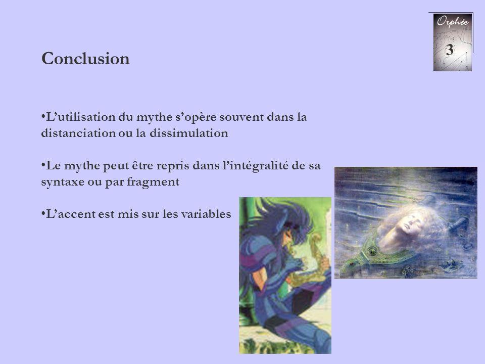 3 Conclusion Lutilisation du mythe sopère souvent dans la distanciation ou la dissimulation Le mythe peut être repris dans lintégralité de sa syntaxe