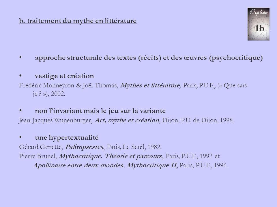b. traitement du mythe en littérature approche structurale des textes (récits) et des œuvres (psychocritique) vestige et création Frédéric Monneyron &