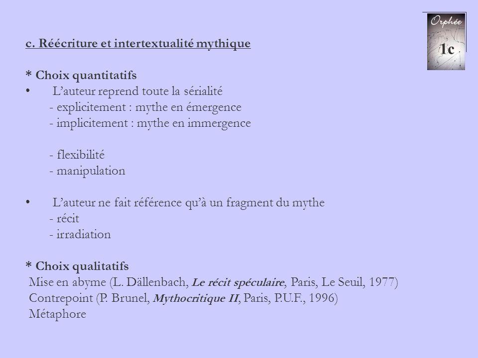 c. Réécriture et intertextualité mythique * Choix quantitatifs Lauteur reprend toute la sérialité - explicitement : mythe en émergence - implicitement