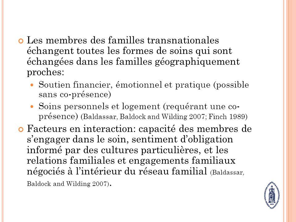 Les membres des familles transnationales échangent toutes les formes de soins qui sont échangées dans les familles géographiquement proches: Soutien f