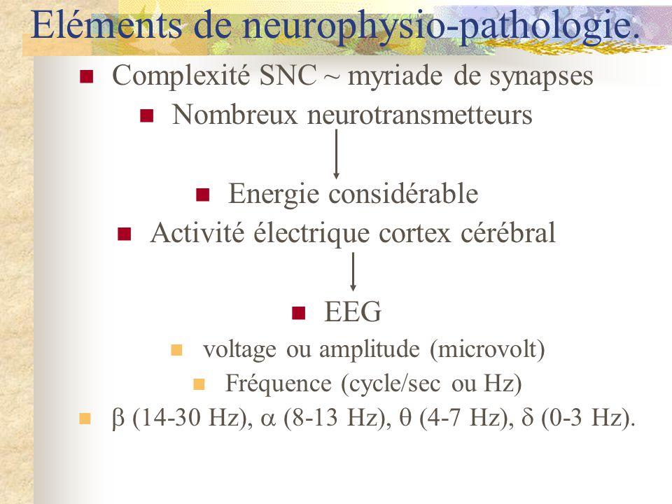 Complexité SNC ~ myriade de synapses Nombreux neurotransmetteurs Energie considérable Activité électrique cortex cérébral EEG voltage ou amplitude (microvolt) Fréquence (cycle/sec ou Hz) (14-30 Hz), (8-13 Hz), (4-7 Hz), (0-3 Hz).
