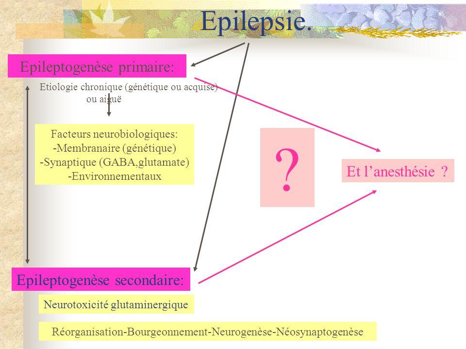 Epilepsie.Epileptogenèse primaire: Epileptogenèse secondaire: Et lanesthésie .
