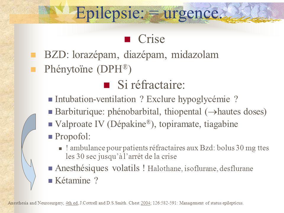 Crise BZD: lorazépam, diazépam, midazolam Phénytoïne (DPH ® ) Si réfractaire: Intubation-ventilation .