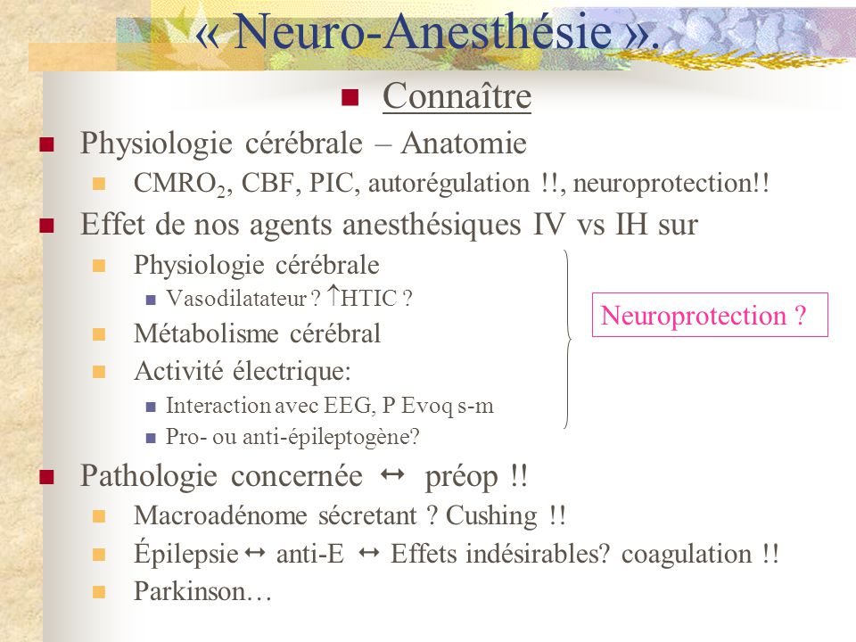 Sevoflurane: Expérimentalement aussi bien pro- que anti-convulsivant Cas cliniques rapportés chez E et non-E Chez non-E: -manifestations cliniques sans EEG = //myoclonies -anomalies isolées EEG Etudes 1999 30 patients, induction au masque, 22 EEG épileptiforme, plus fréquent si hypocapnie, saccompagnait ce et TA .