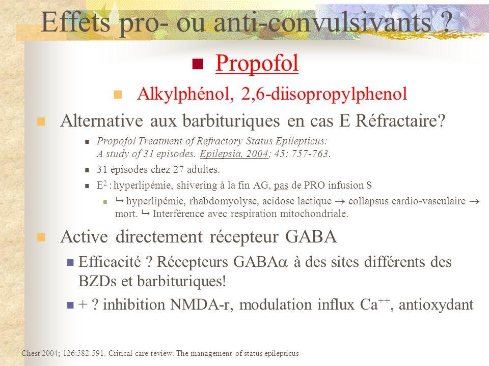 Propofol Alkylphénol, 2,6-diisopropylphenol Alternative aux barbituriques en cas E Réfractaire.