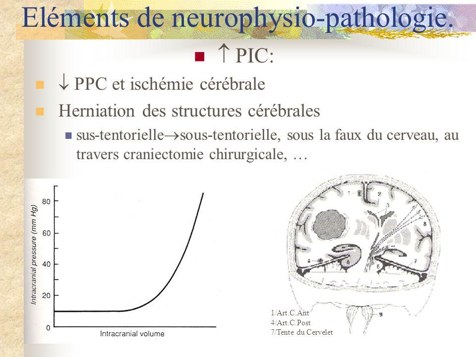 PIC: PPC et ischémie cérébrale Herniation des structures cérébrales sus-tentorielle sous-tentorielle, sous la faux du cerveau, au travers craniectomie chirurgicale, … Eléments de neurophysio-pathologie.