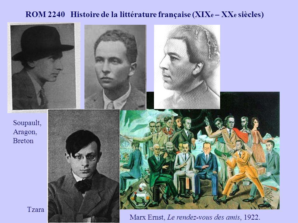 ROM 2240 Histoire de la littérature française (XIX e – XX e siècles) Marx Ernst, Le rendez-vous des amis, 1922. Soupault, Aragon, Breton Tzara